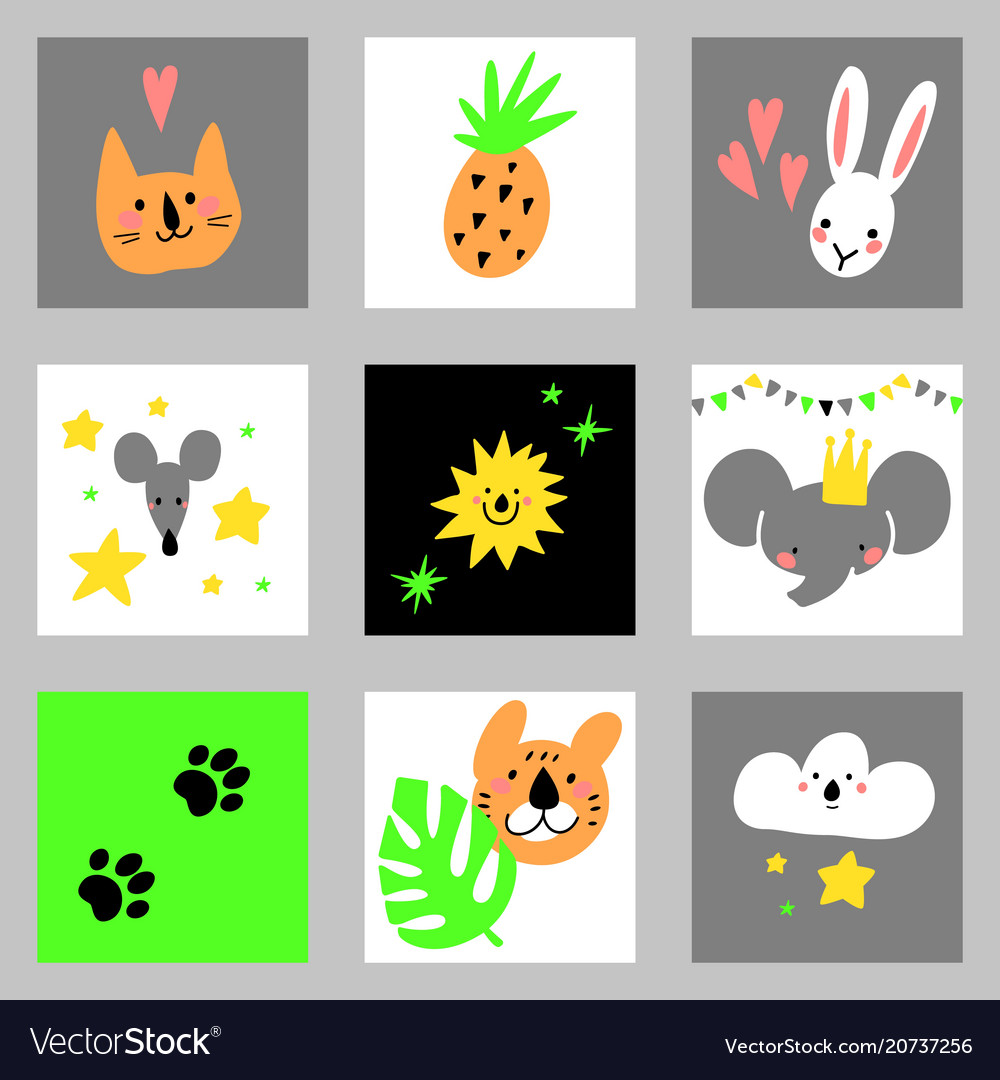 Set of cartoon design elements with animals for