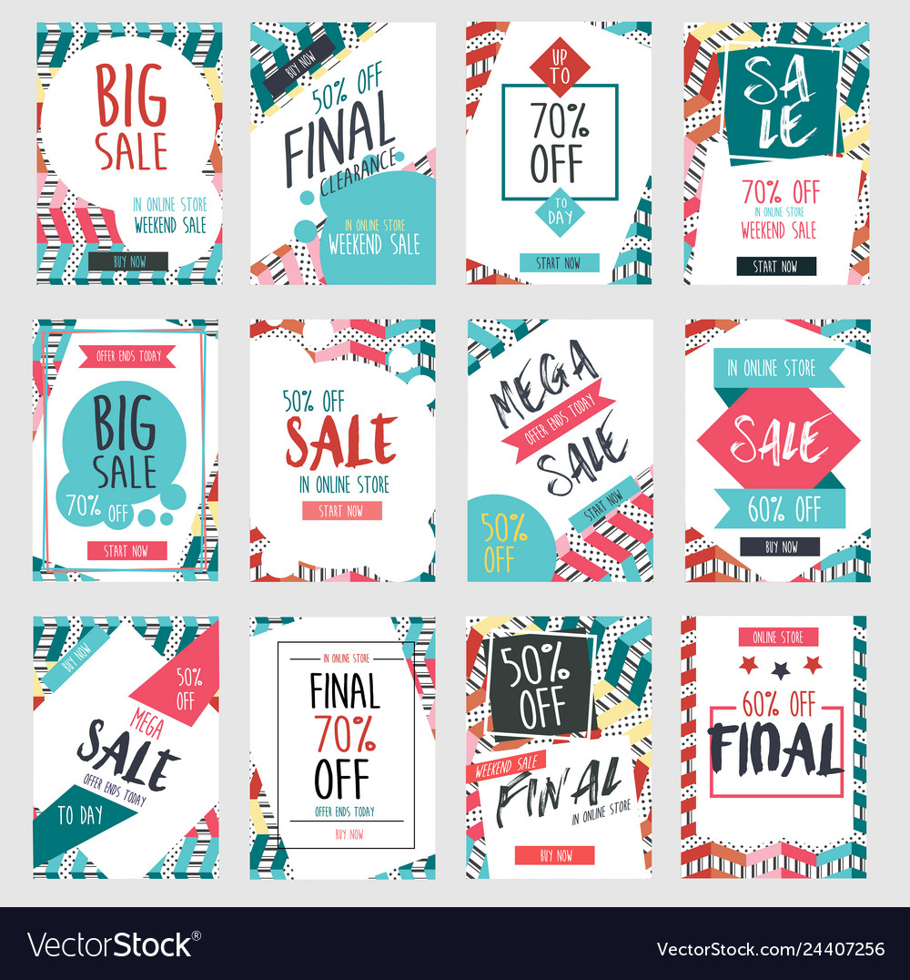 Set of modern sale banners template design with