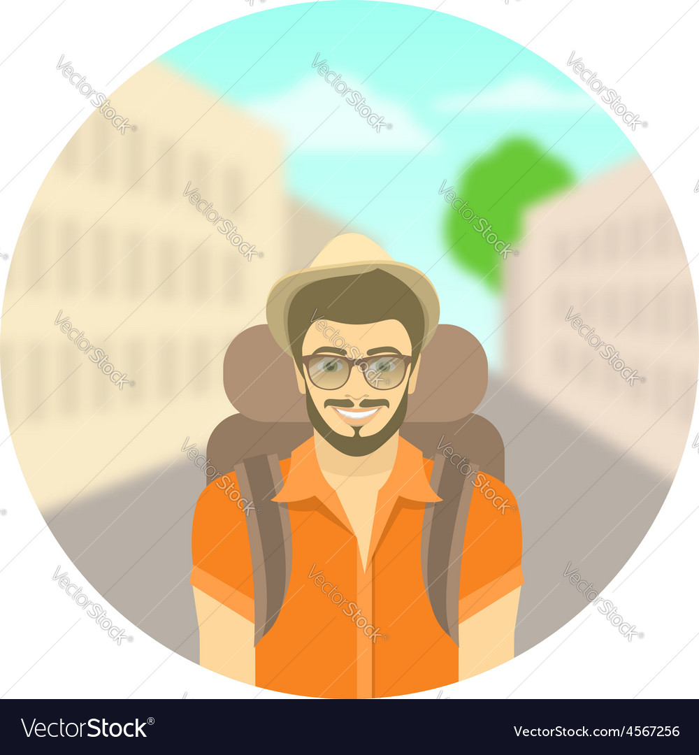 Young man tourist with a backpack on city