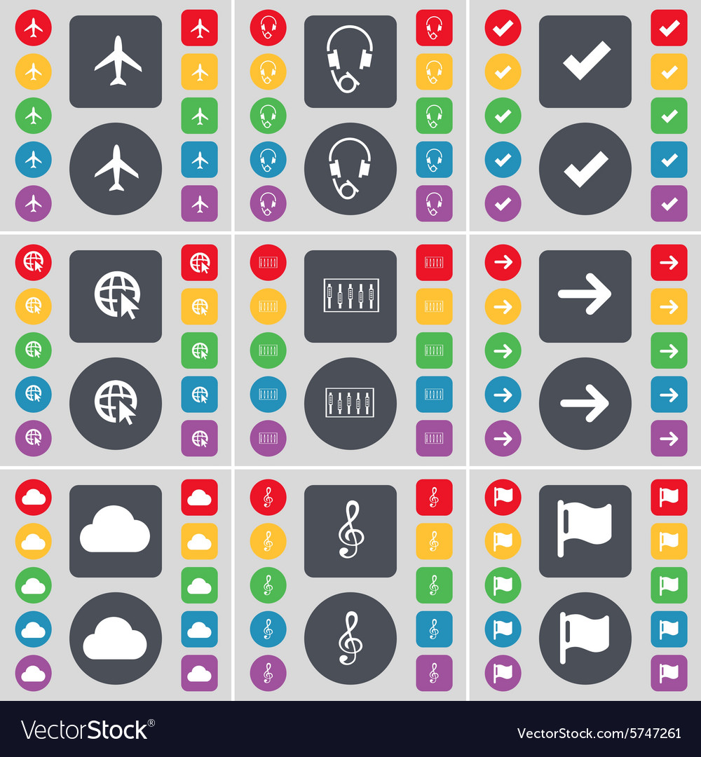 Airplane Headphones Tick Web cursor Equalizer vector image
