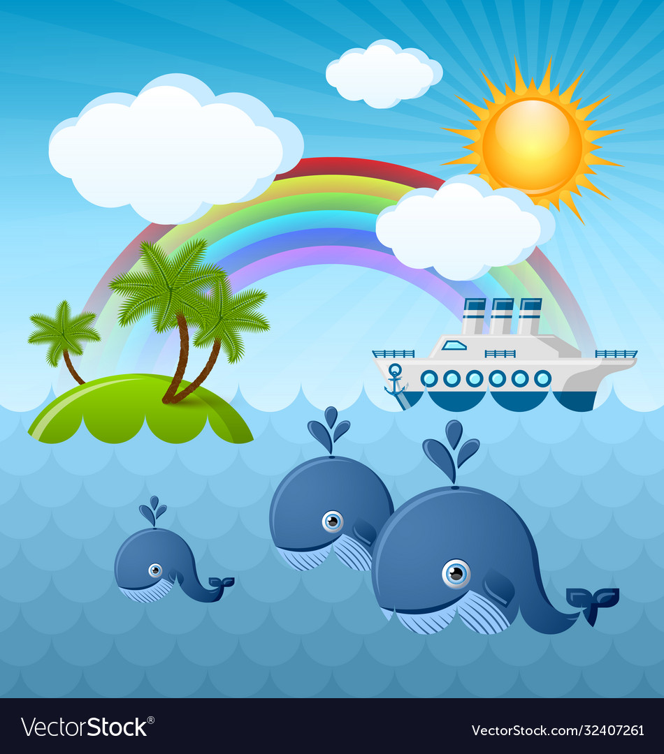 Calm summer scene with whales sun clouds rainbow