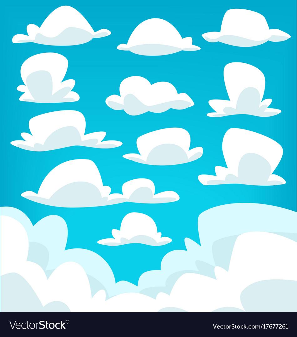 Cartoon cloud drawing collection set vector image