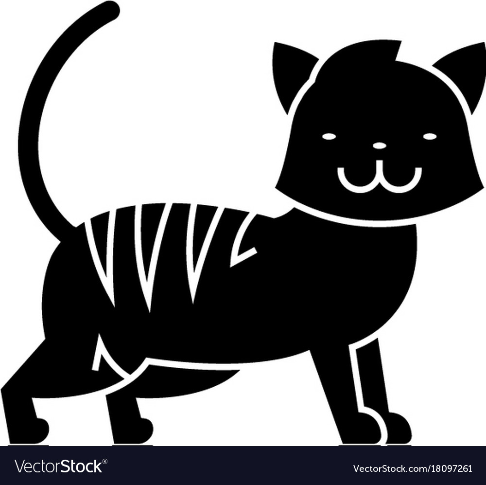 Cat cute icon black sign on