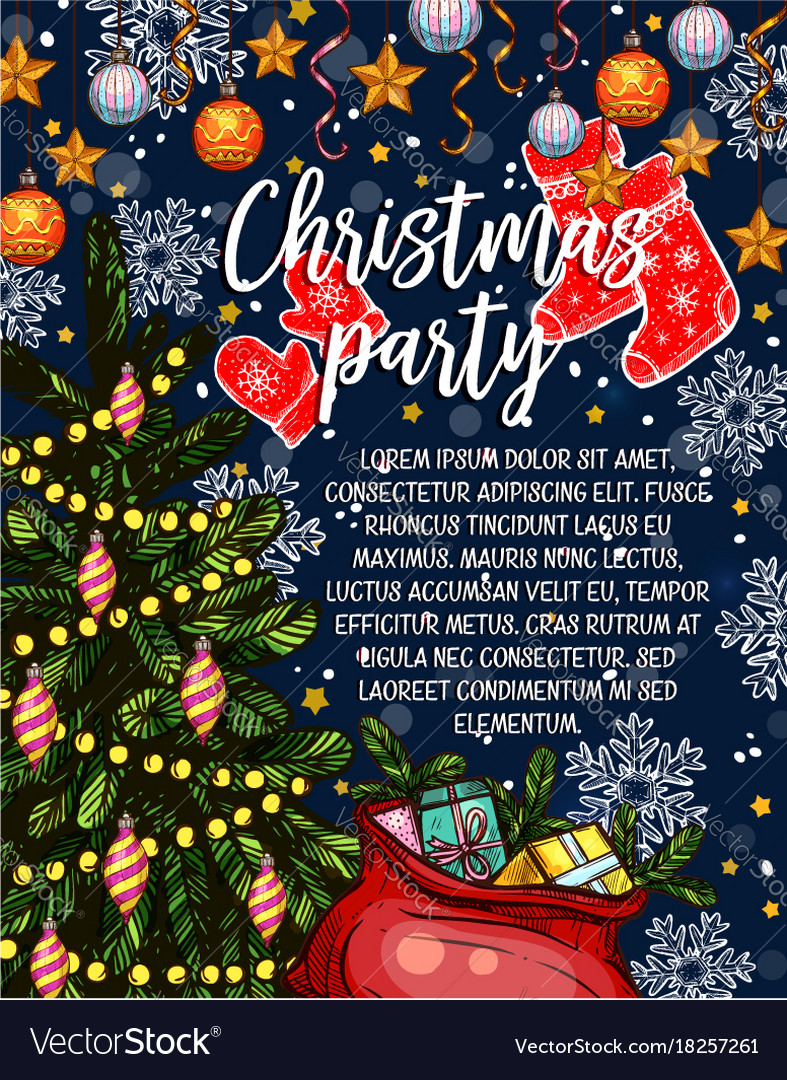 Christmas party sketch invitation poster Vector Image