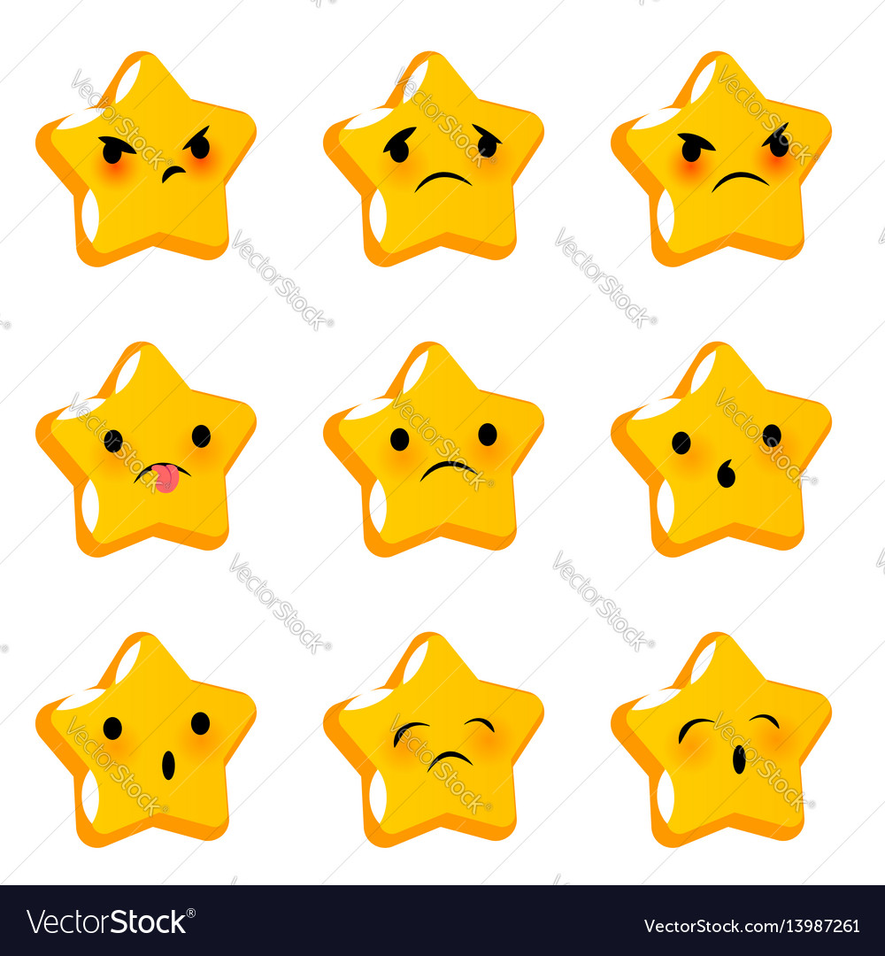 Emotional stare negative faces smiles set