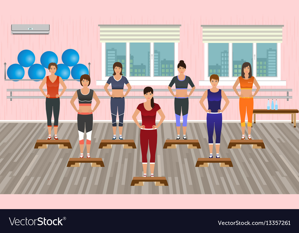 Fitness people in the gym athletic women vector image