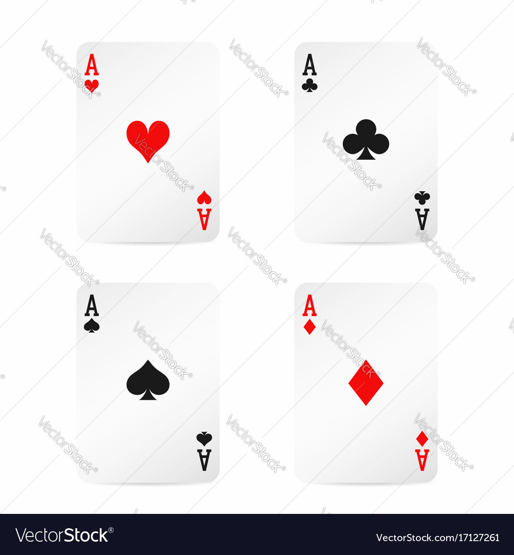 Four aces playing cards with shadow isolated on