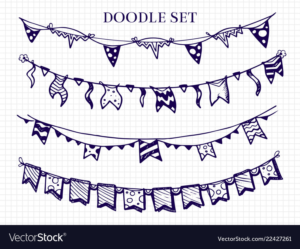Hand drawn flags garlands doodle set