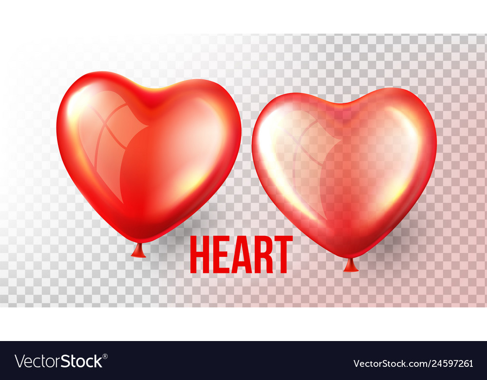 Heart balloon transparent 3d realistic red