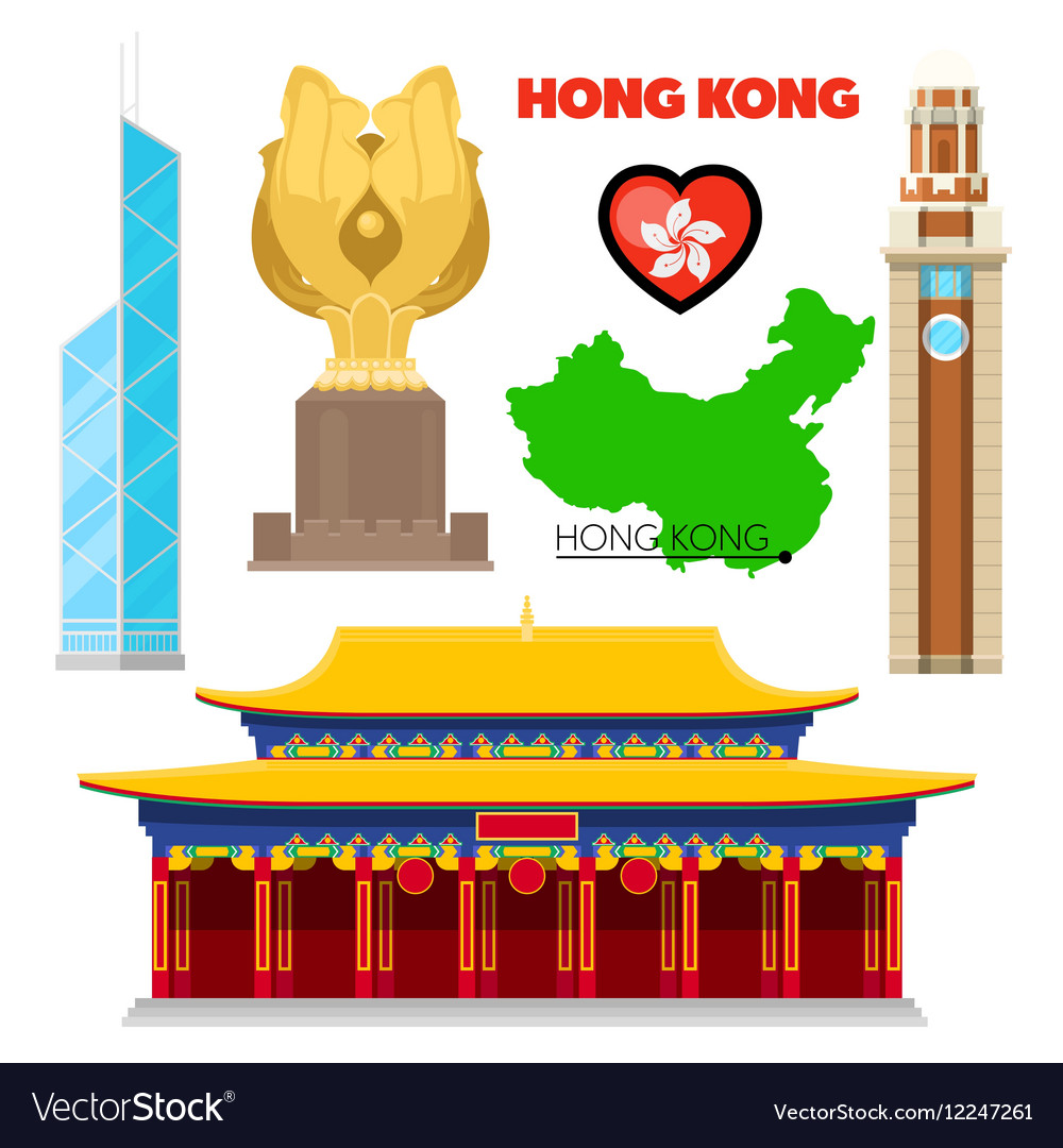 Hong Kong China Travel Doodle with Architecture