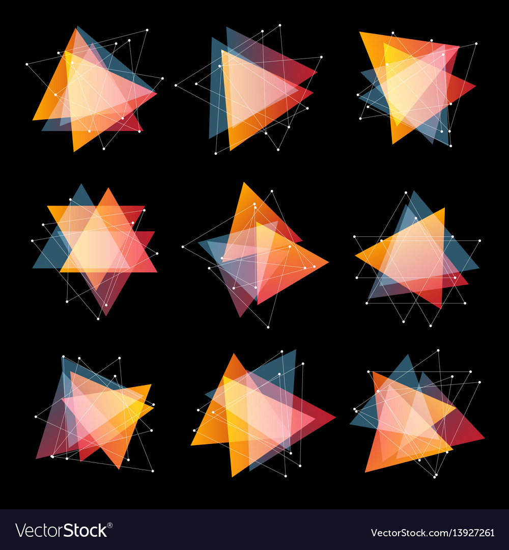 Isolated abstract pink and orange color triangles