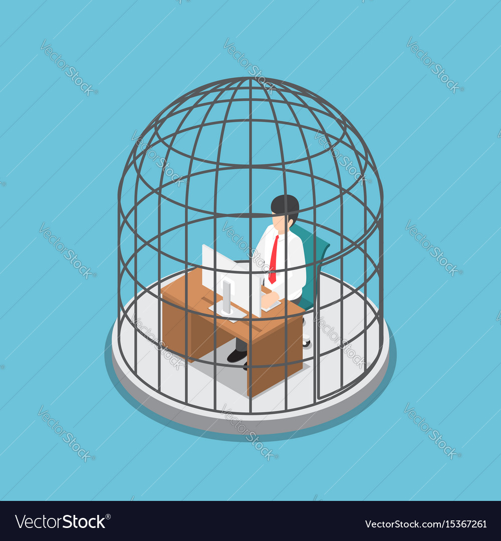 Isometric businessman working in the birdcage