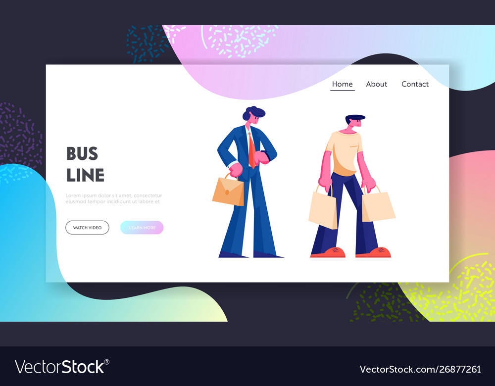 People stand on bus station website landing page
