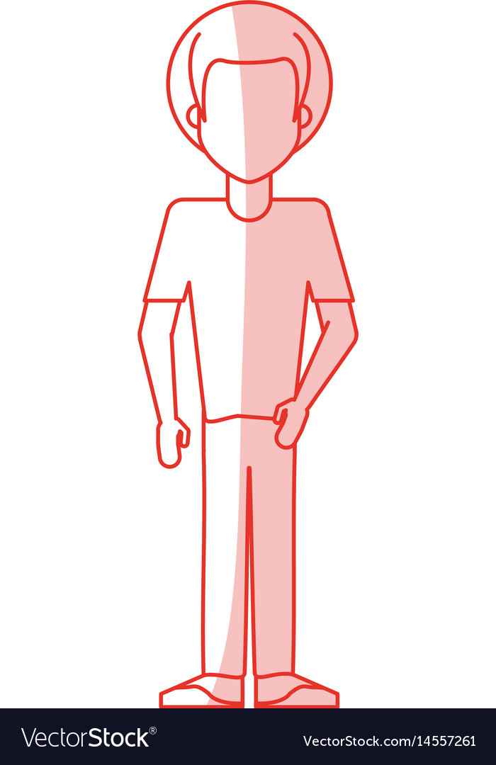 Red silhouette shading caricature faceles body man