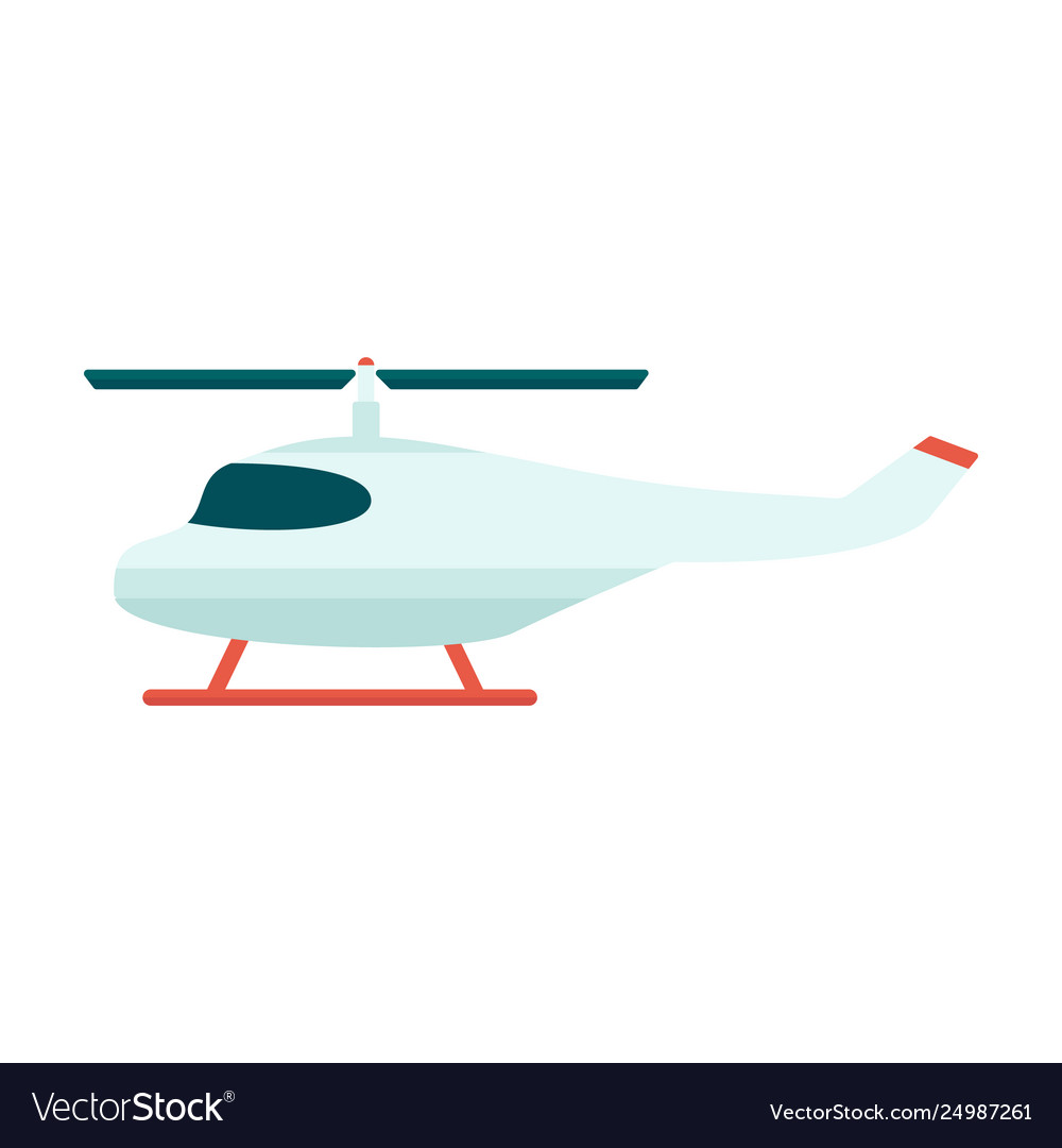 Rescue or tourist propeller helicopter icon flat