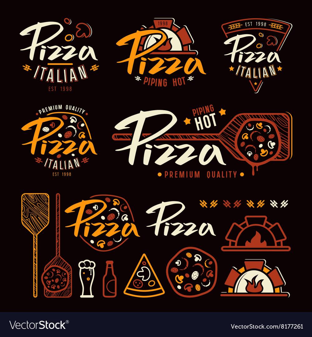 Set of pizzeria labels badges and design elements