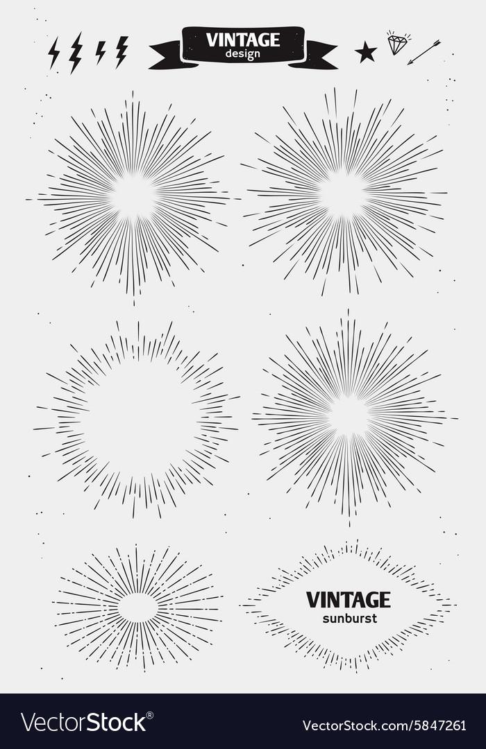 Set of vintage monochrome sun burst starburst