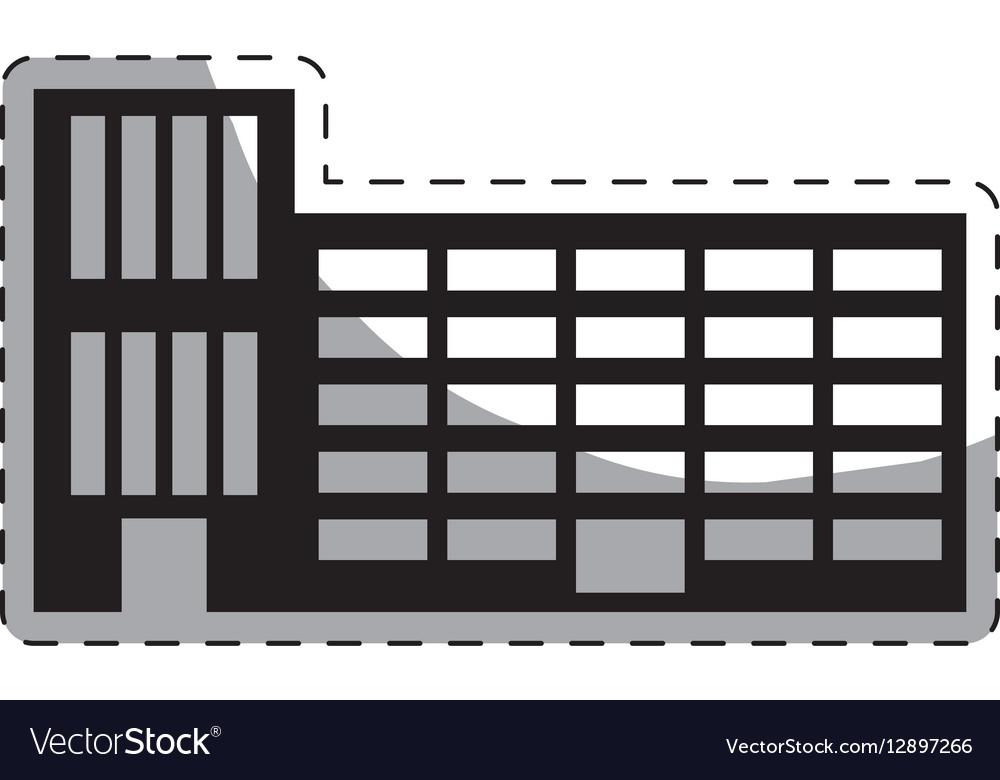 Black city school building line sticker