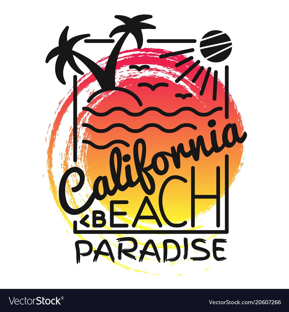 California beach paradise print for t-shirt