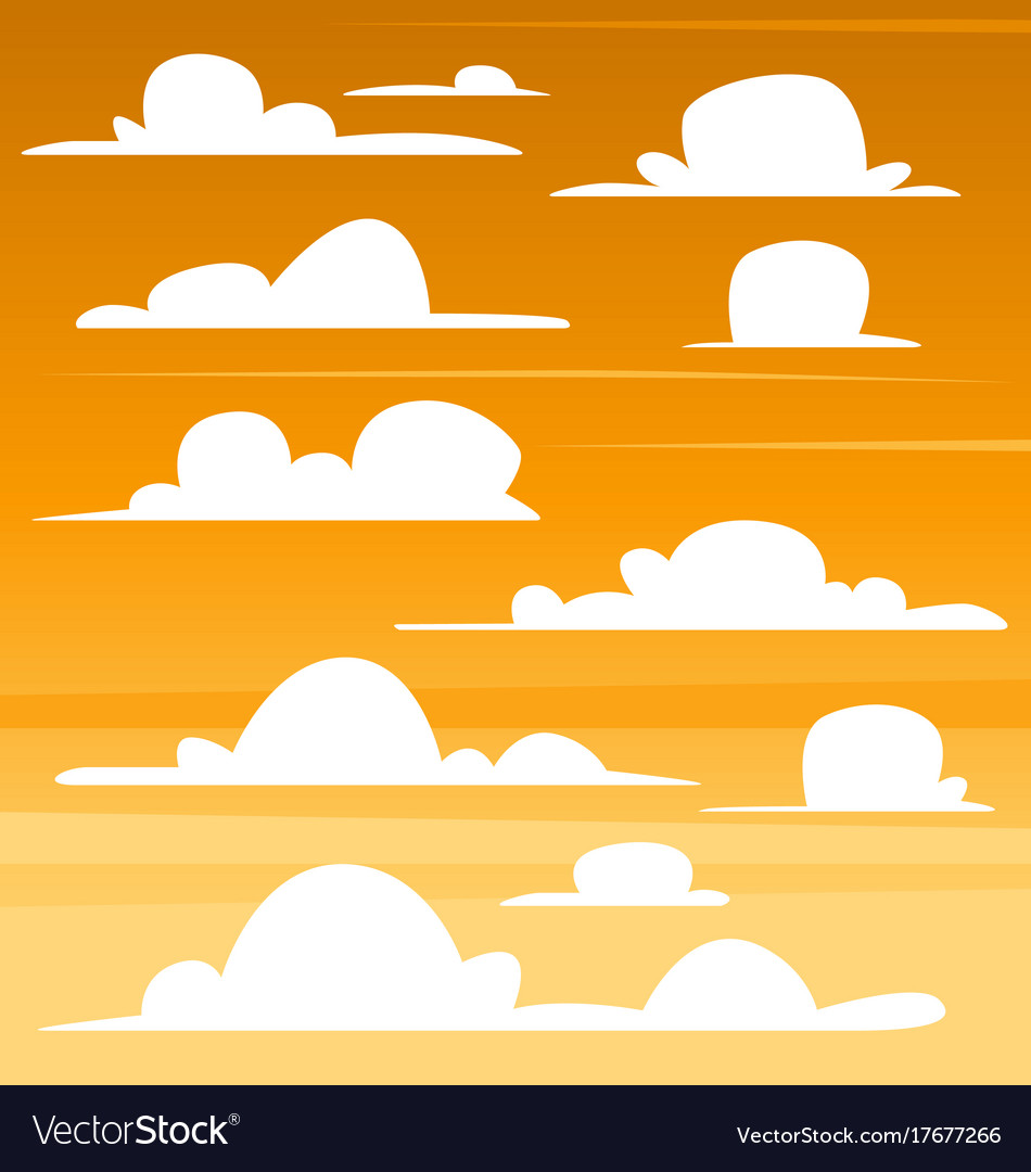 Cartoon clouds template. Cloud set dark sunset