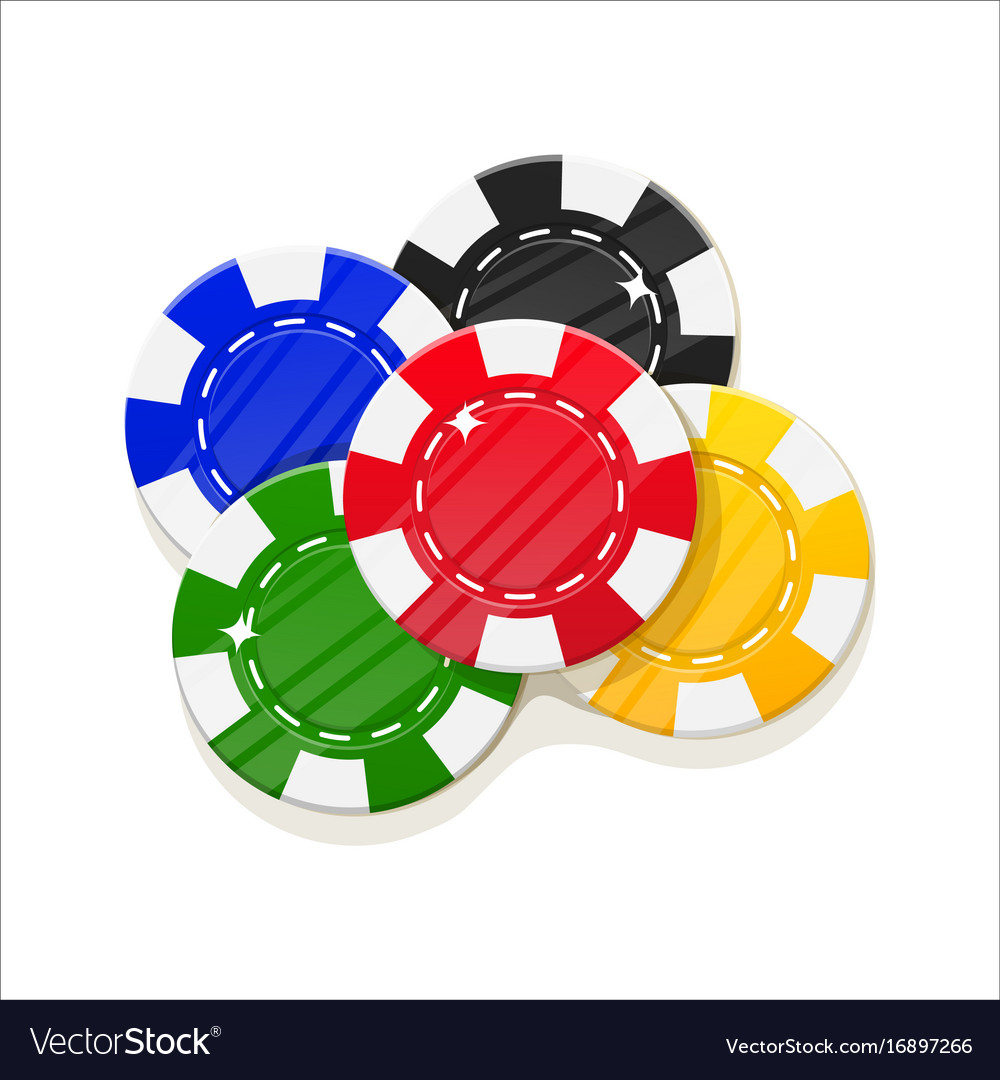 Chips casino cartoon style set isolated vector image