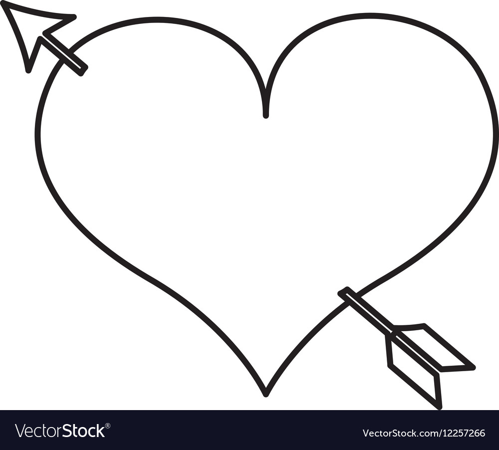 Heart love drawing with arrow icon