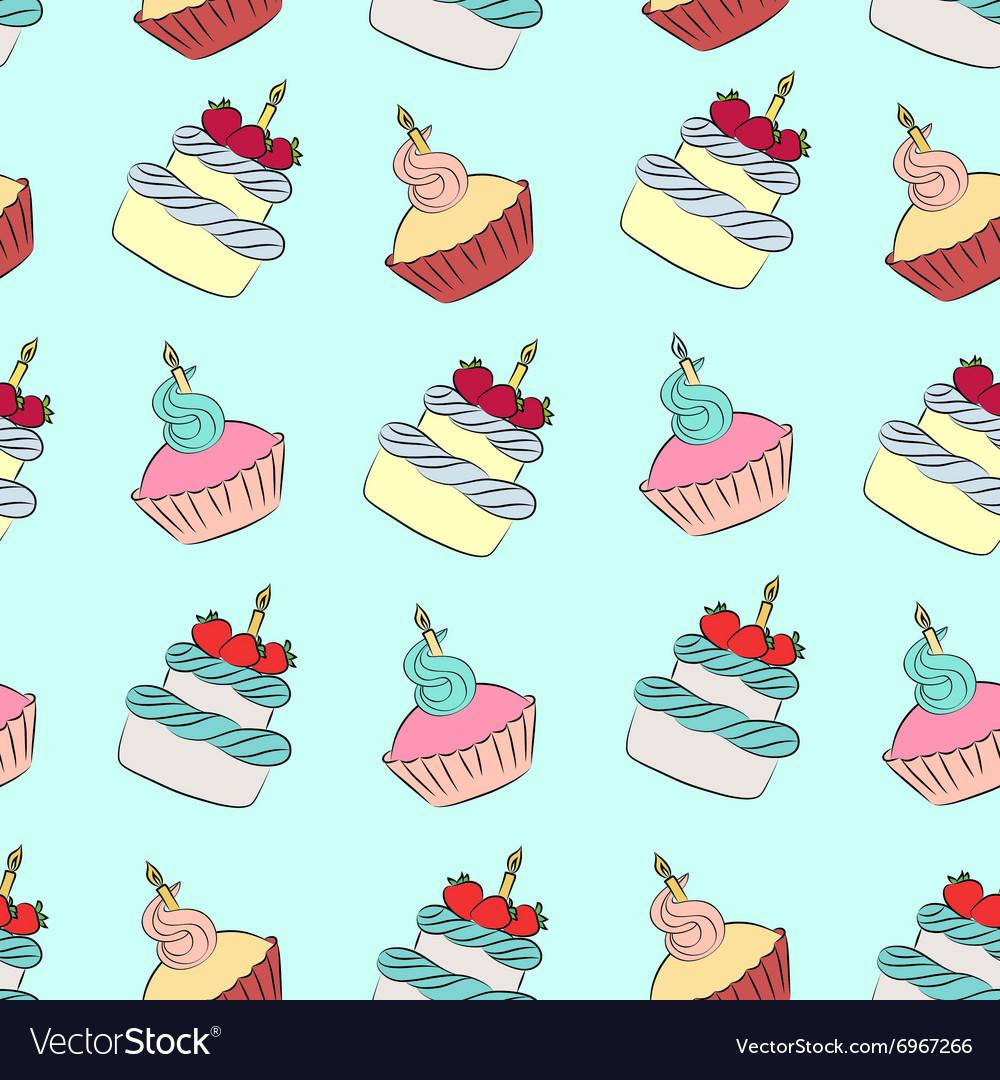 Seamless cream cupcake and cake pattern
