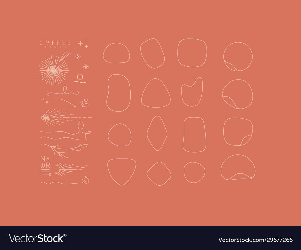 Set decorative elements and frames coral