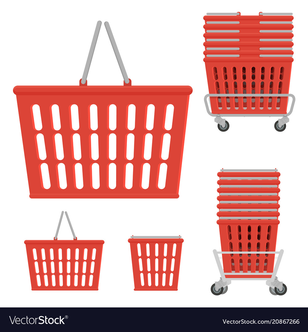 Set of plastic red shopping basket