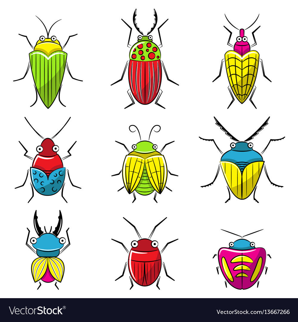 Small funny bugs icon set