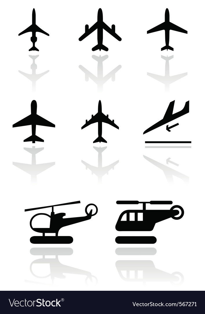 Airplane helicopter symbol set