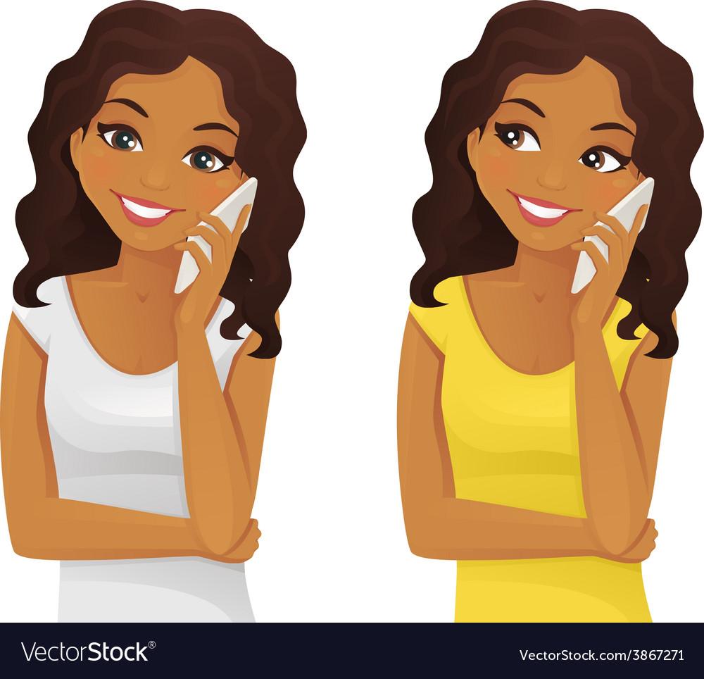 Black woman phone talking Royalty Free Vector Image