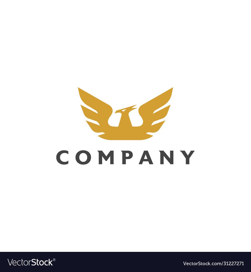 Golden falcon bird logo design on white