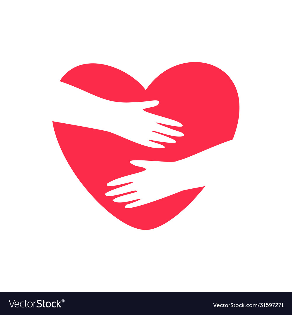 Hands embracing heart logo