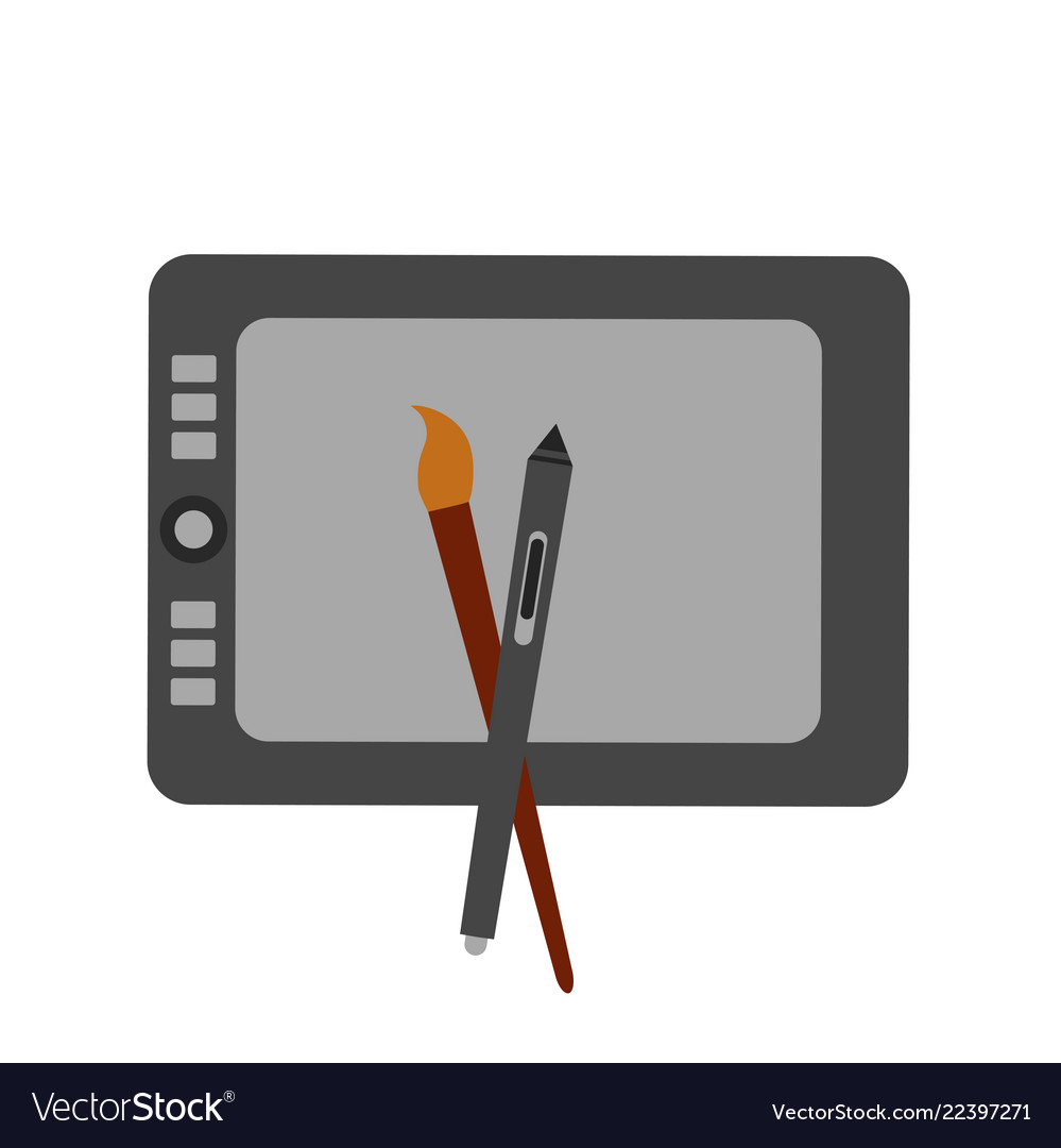 Icon and sign for digital artist isolated on