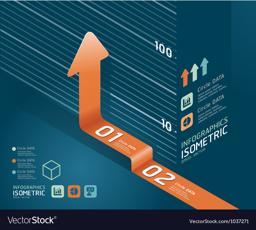 Infographic orange arrow diagram chart