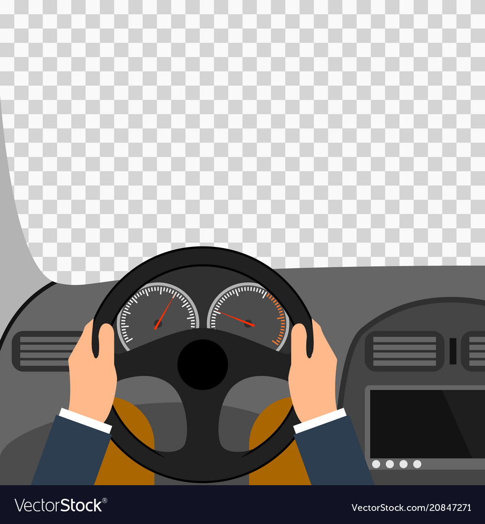 Man hands of a driver on steering wheel of a car