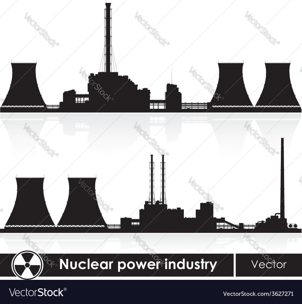 Nuclear power plants silhouette isolated on white