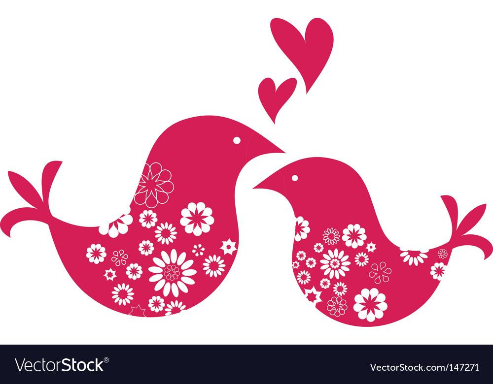 Retro love birds with hearts