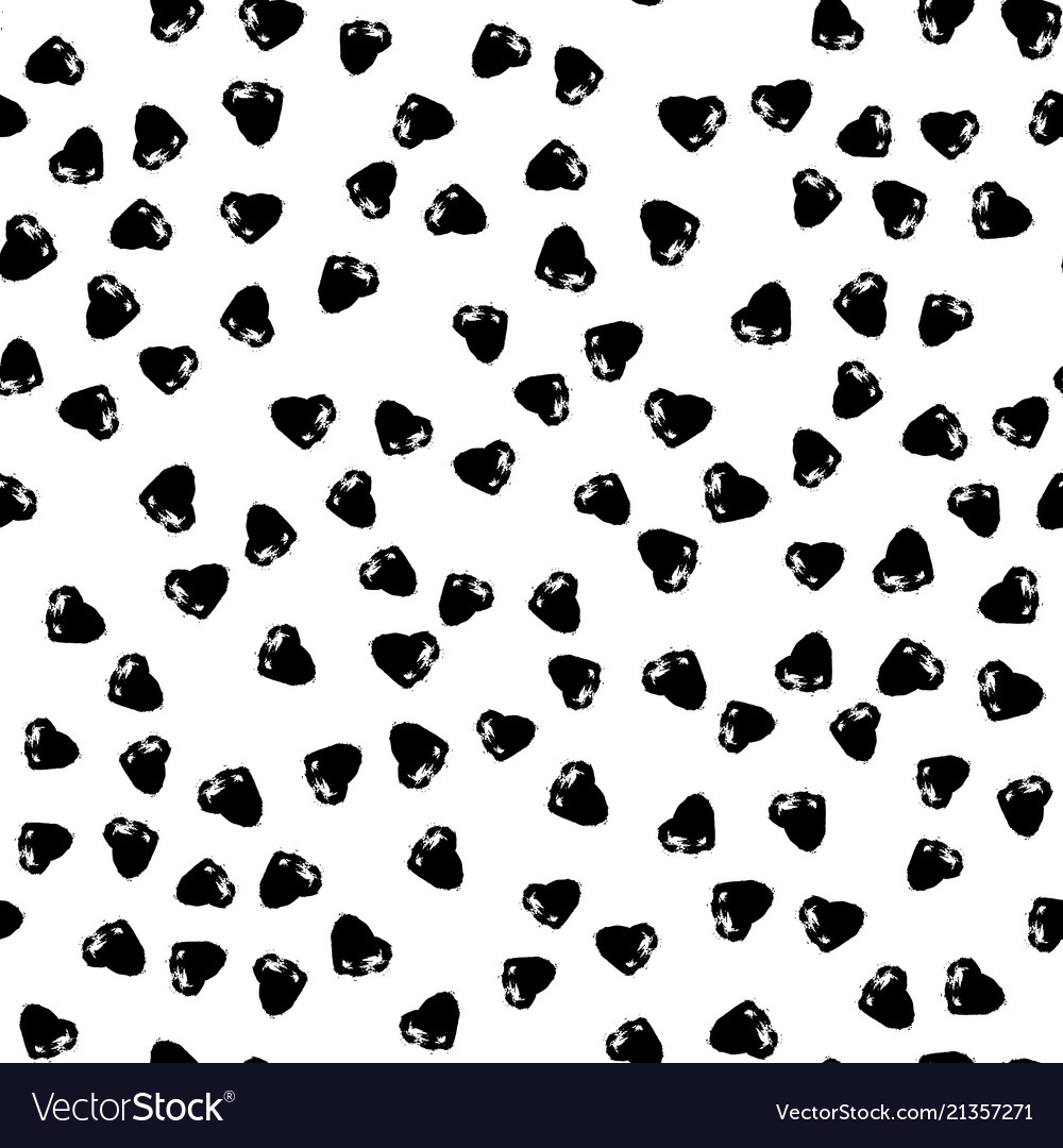 Seamless pattern with brush heartss black
