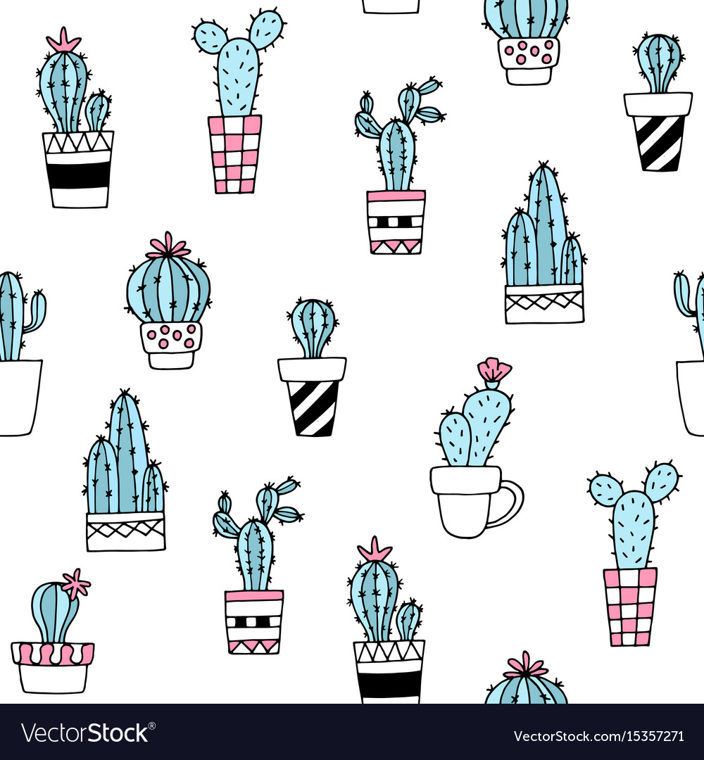 Seamless pattern with cute hand drawn cactus