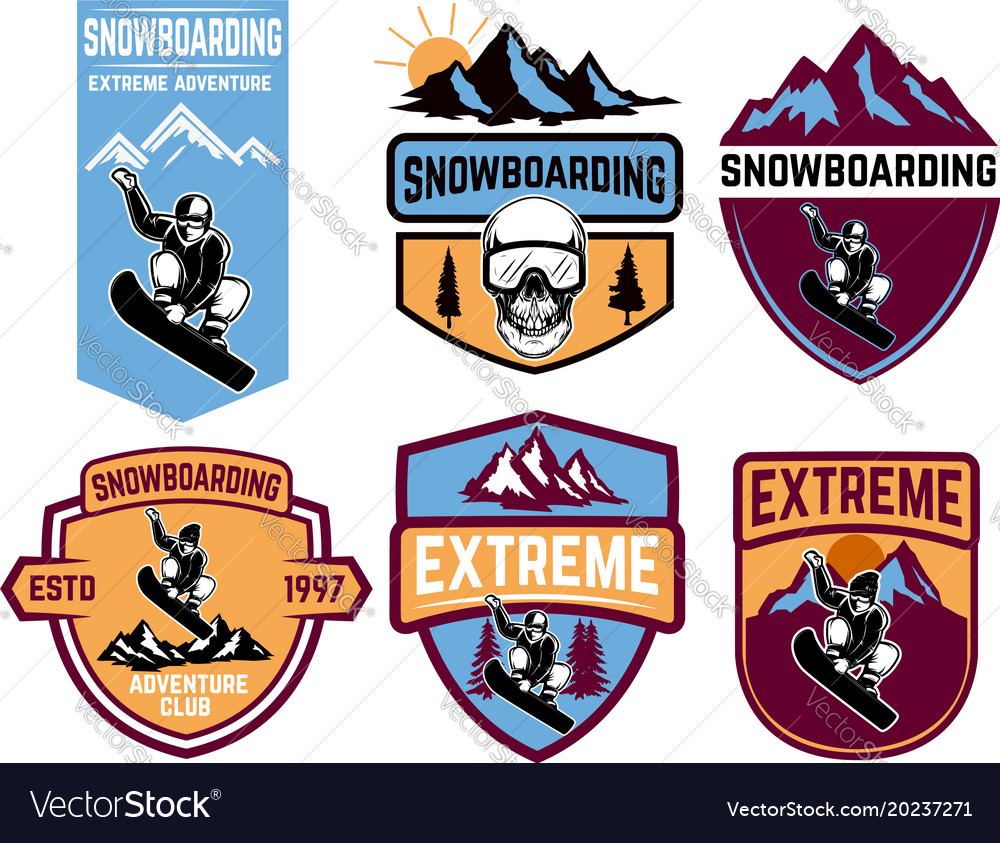 Set of snowboarding emblems design element for