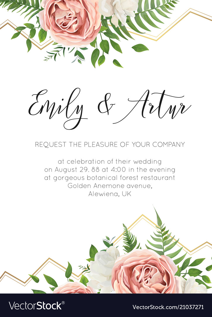 Wedding floral invite invtation save the date card