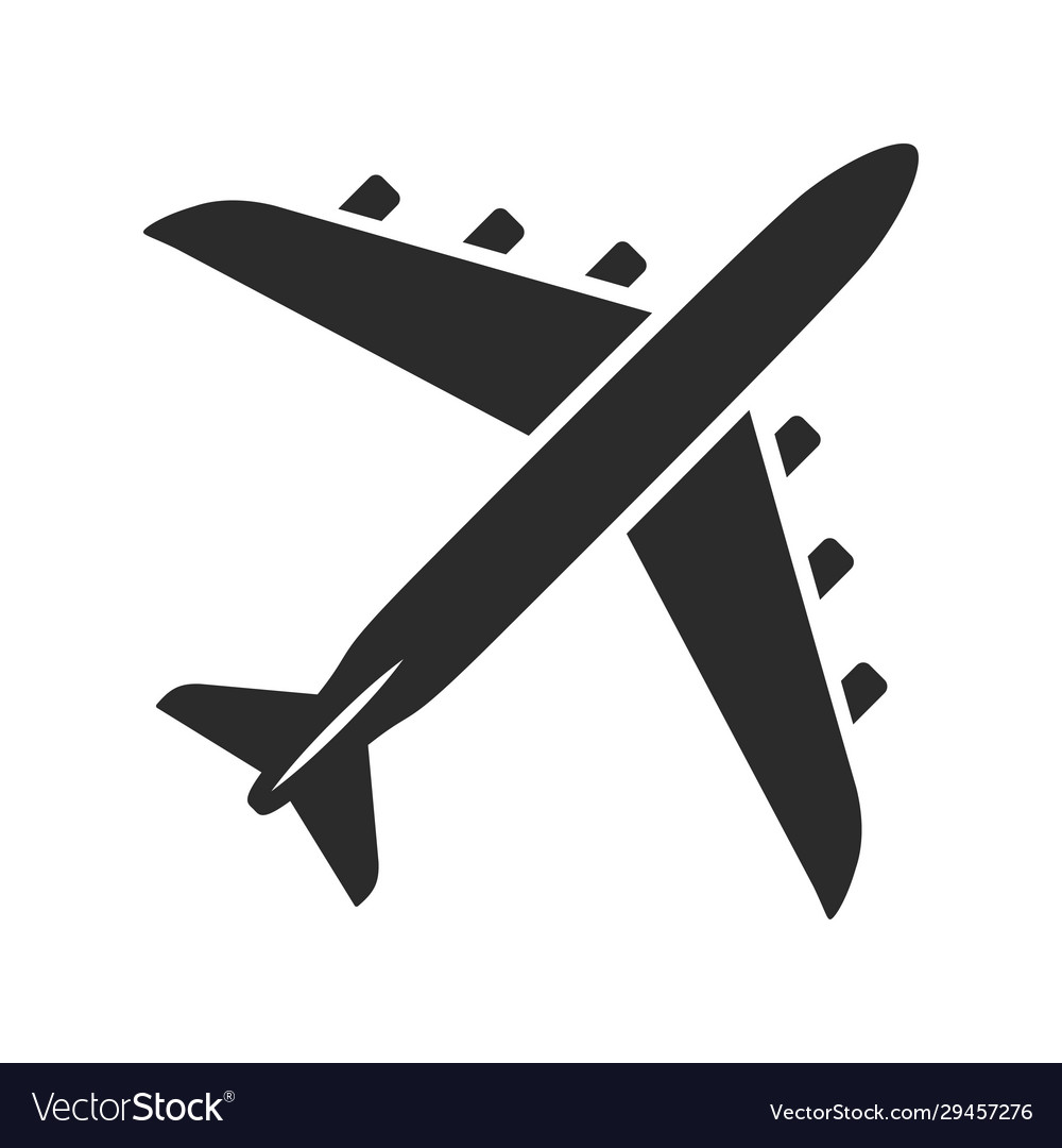 Airplane black icon flying vehicle for sky travel