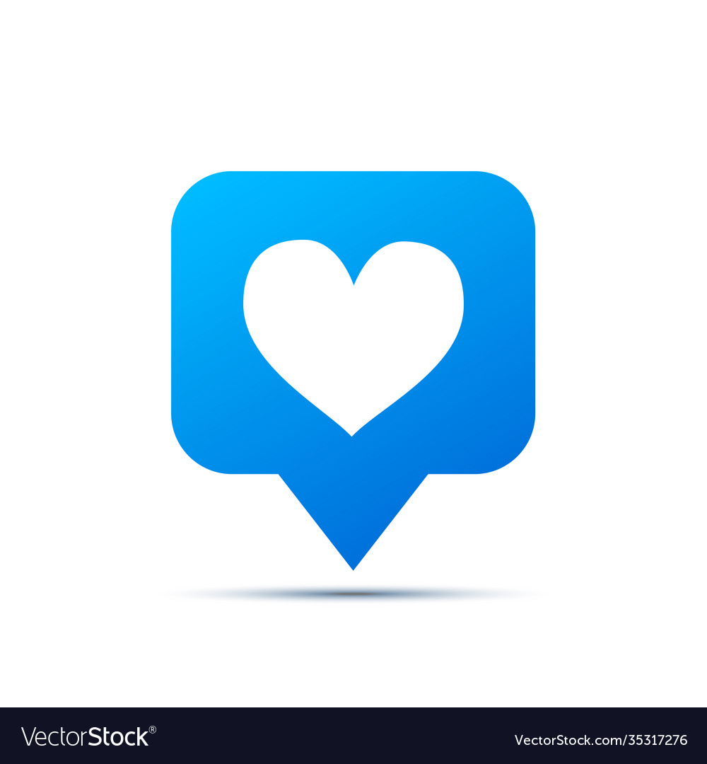 Bright blue trendy icon for social network heart