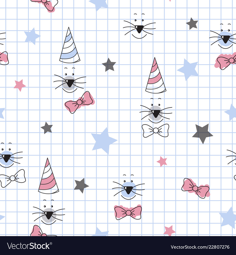 Cute cat face star pattern for kids simple