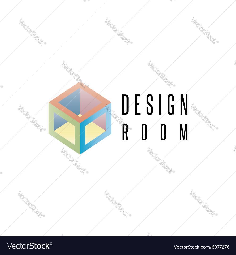 Isometric cube logo geometric shape 3D design