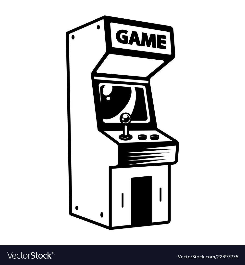 Monochrome Retro Arcade Game Machine Concept Vector Image