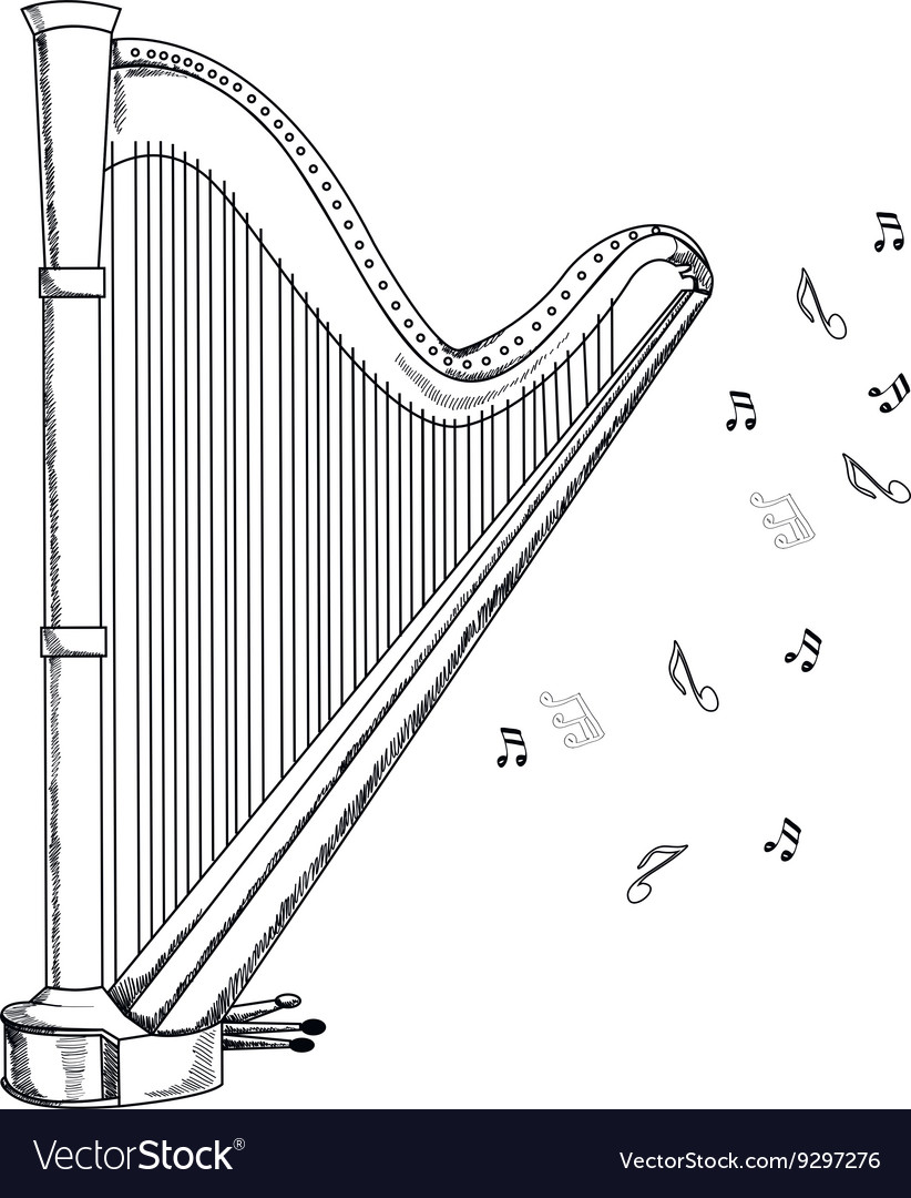 Musical instrument harp on white background vector image