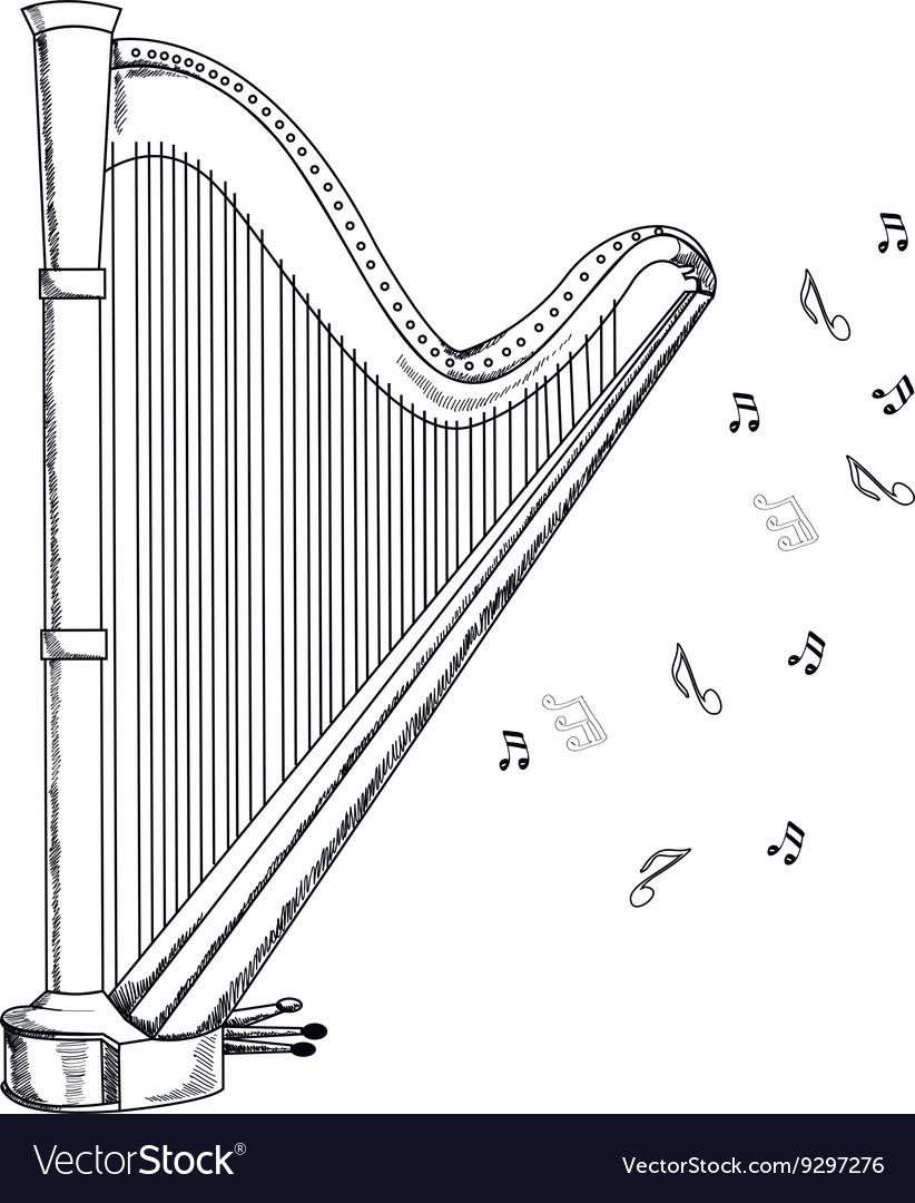 Musical instrument harp on white background